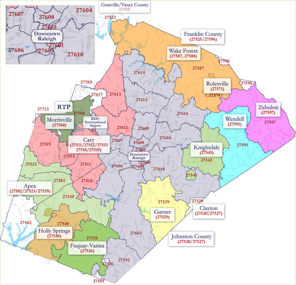 Raleigh Zip Code Map for Printable Map Of Downtown Raleigh Nc