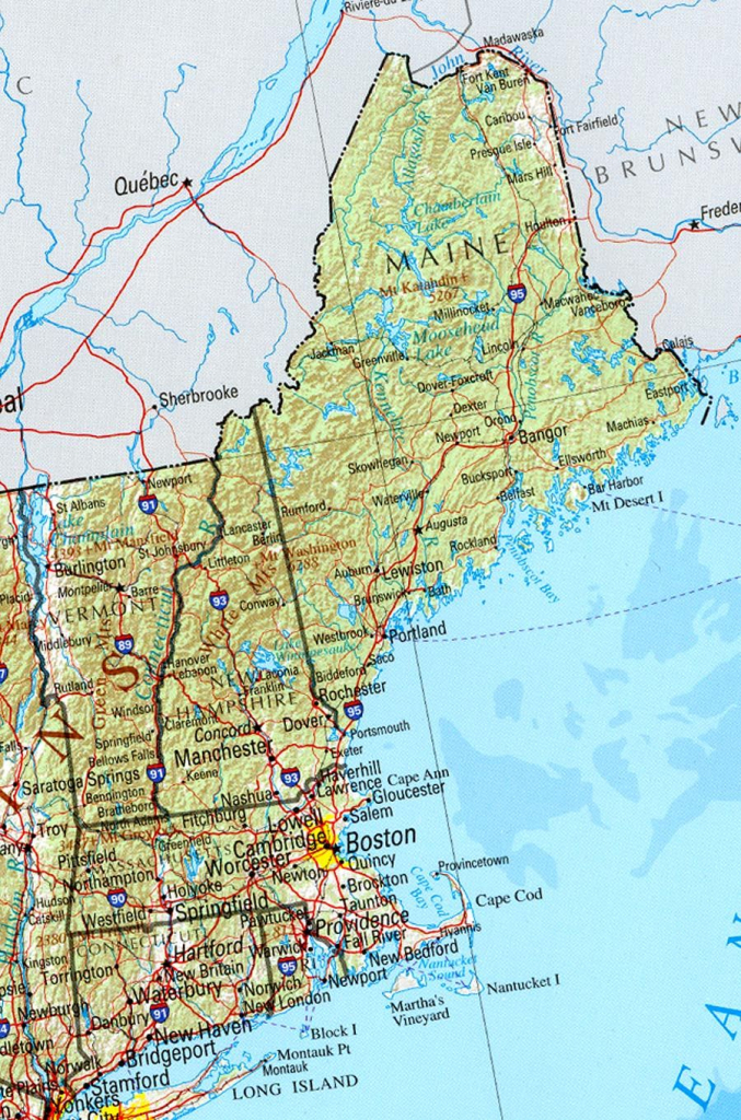 Reference Map Of New England State, Ma Physical Map | Crafts in Printable Map Of New England
