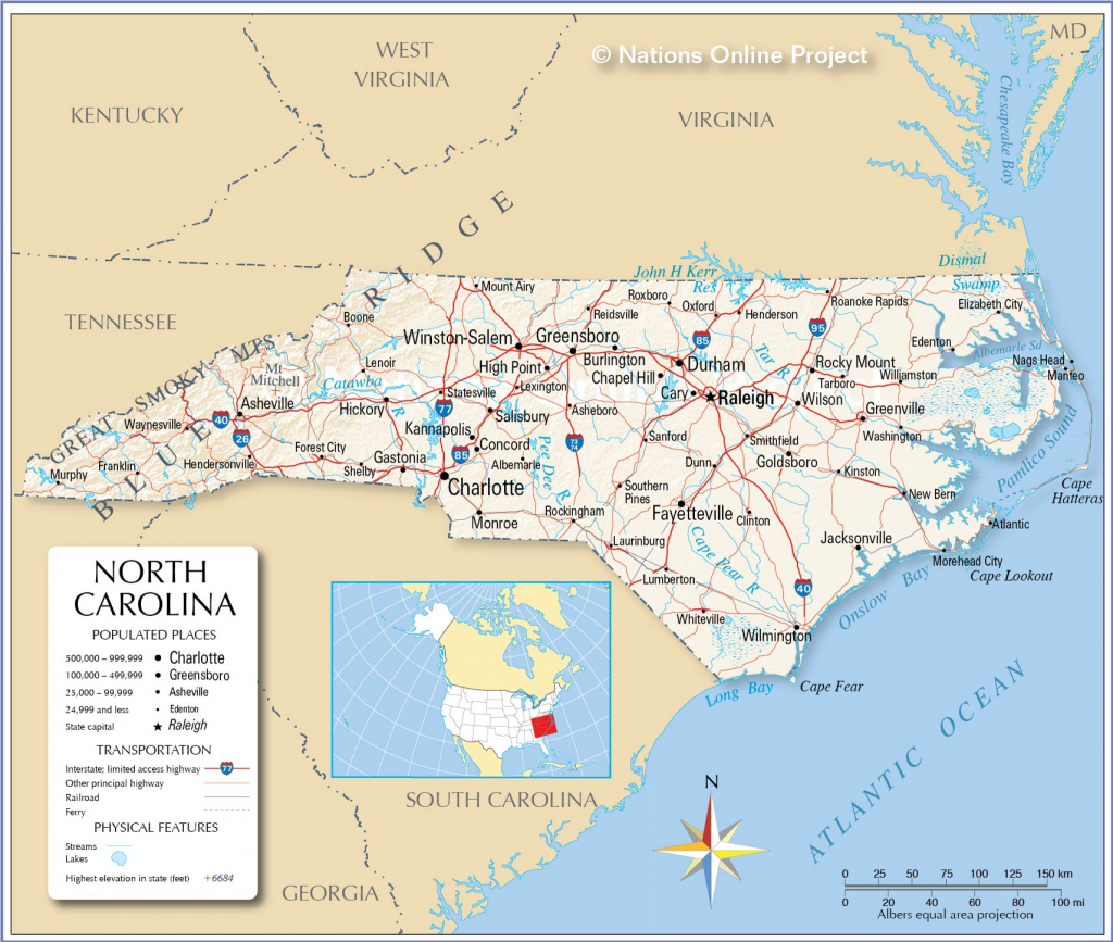 Reference Maps Of North Carolina, Usa - Nations Online Project for Printable Map Of North Carolina Cities