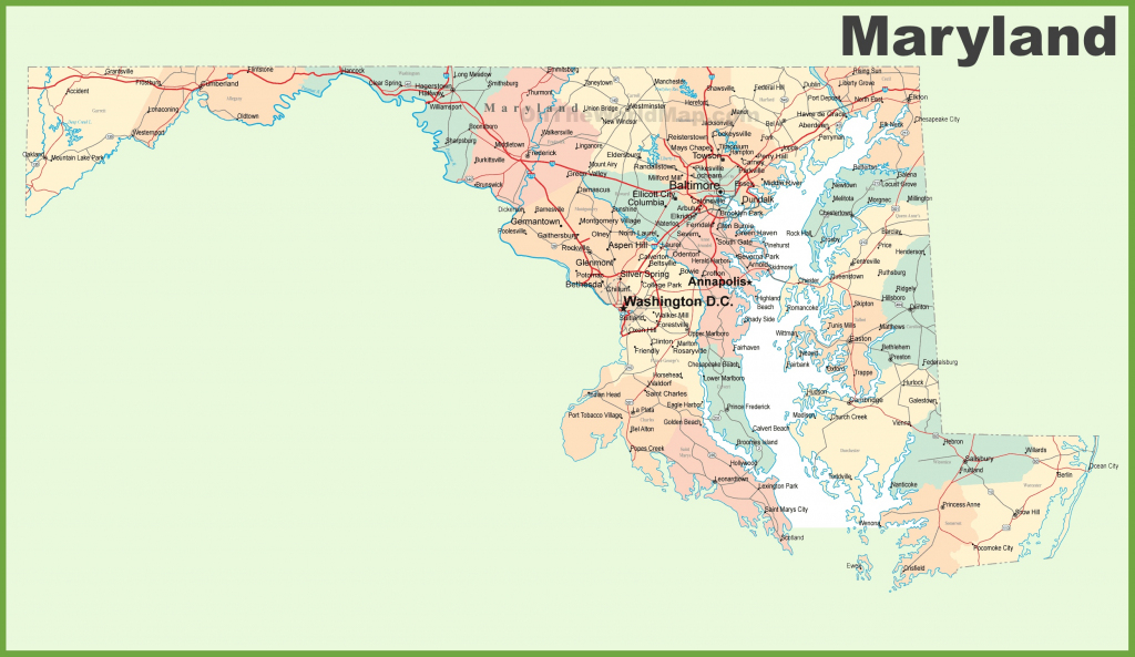 Road Map Of Maryland With Cities throughout Printable Map Of Maryland