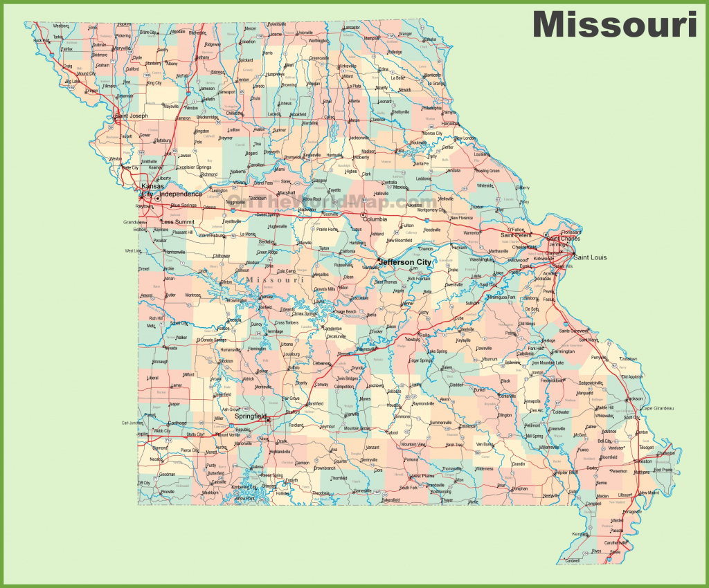 Road Map Of Missouri With Cities in Printable Map Of Missouri