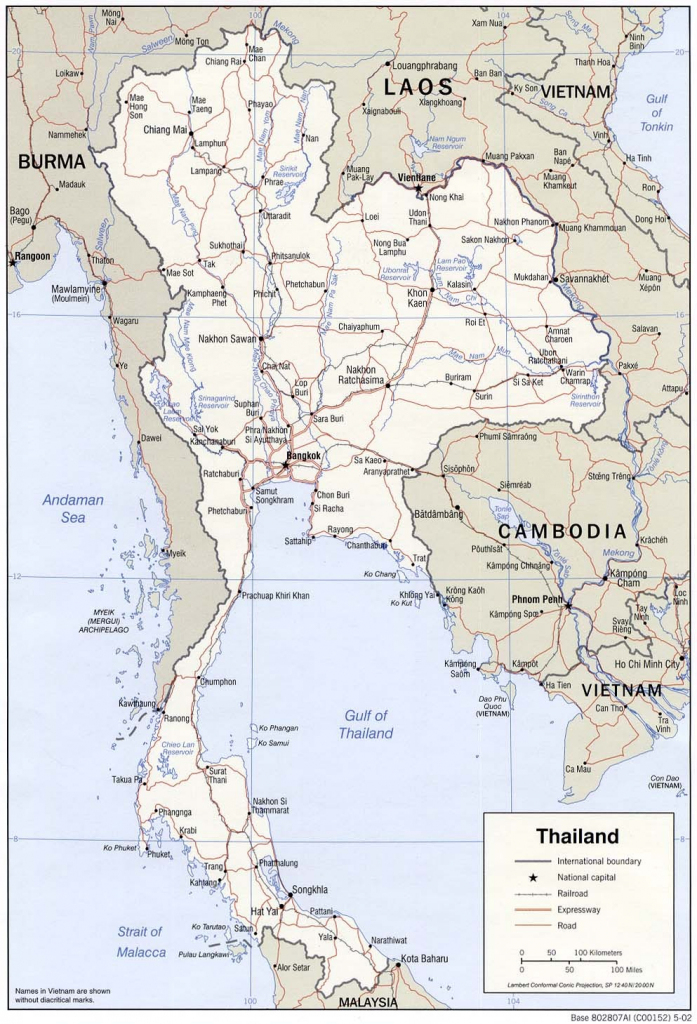 Road Map Of Thailand 16 Printable Map Of Thailand - Earthwotkstrust throughout Printable Map Of Thailand