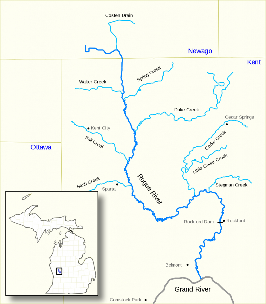 Rogue River (Michigan) - Wikipedia in Michigan River Map Printable
