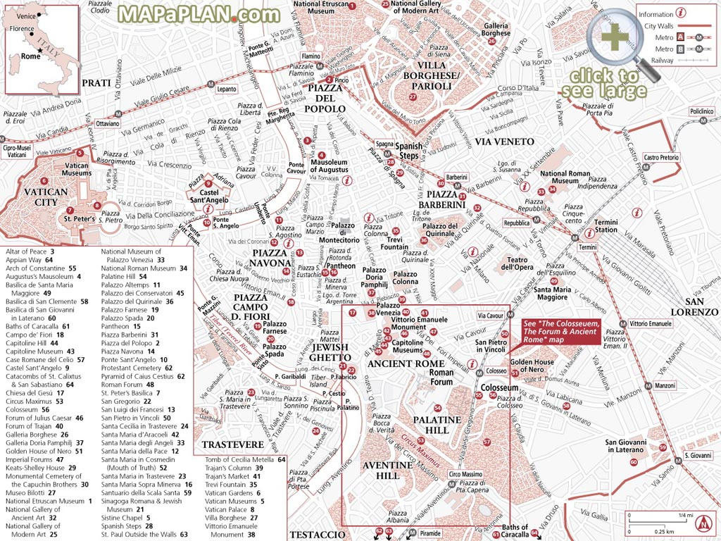 Rome Maps - Top Tourist Attractions - Free, Printable City Street Map throughout Rome Tourist Map Printable