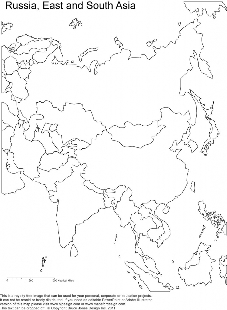Russia And Asia, Blank Printable Map, Royalty Free | Geography in Blank Russia Map Printable