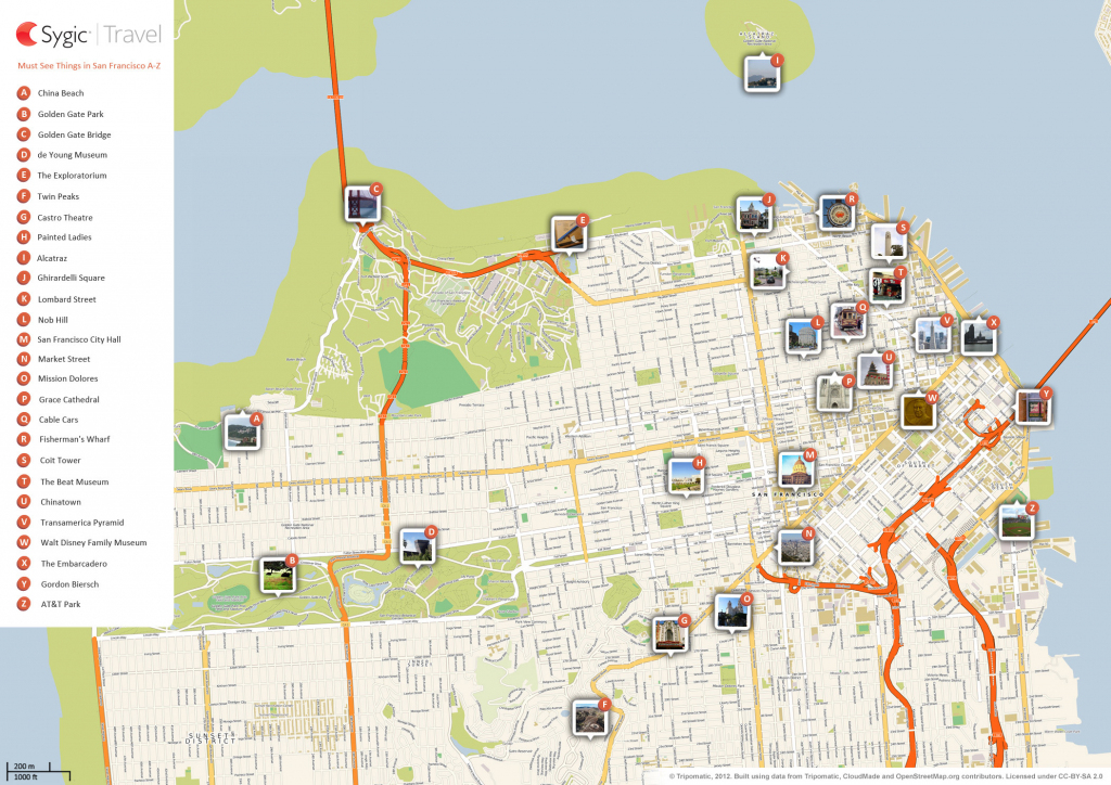 San Francisco Printable Tourist Map | Sygic Travel intended for San Francisco Tourist Map Printable