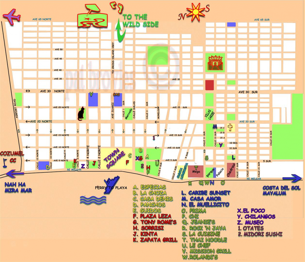 San Miguel Cozumel Map And Travel Information | Download Free San with Printable Street Map Of Cozumel