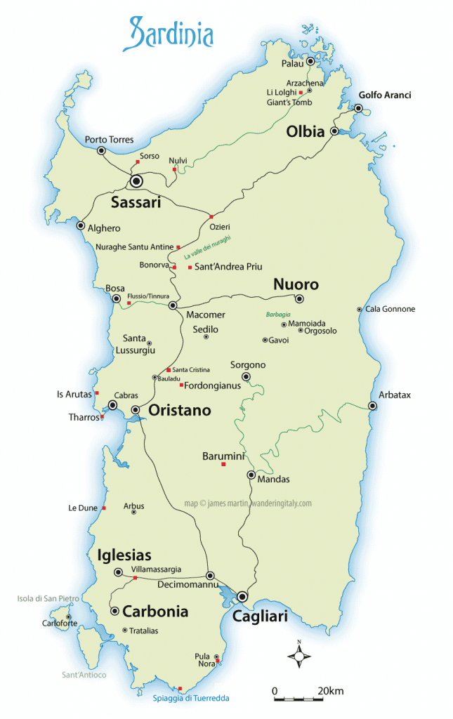 Sardinia Map And Travel Guide | Wandering Italy within Printable Map Of Sardinia