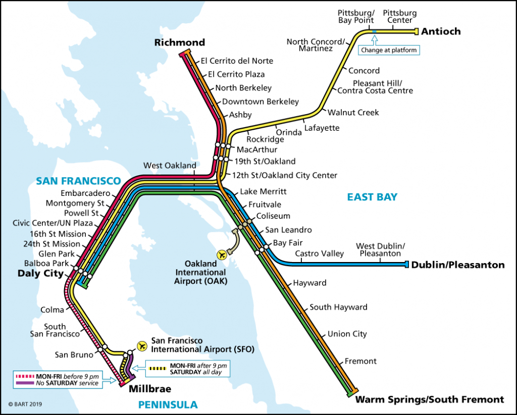 Schedules | Bart.gov throughout Printable Bart Map