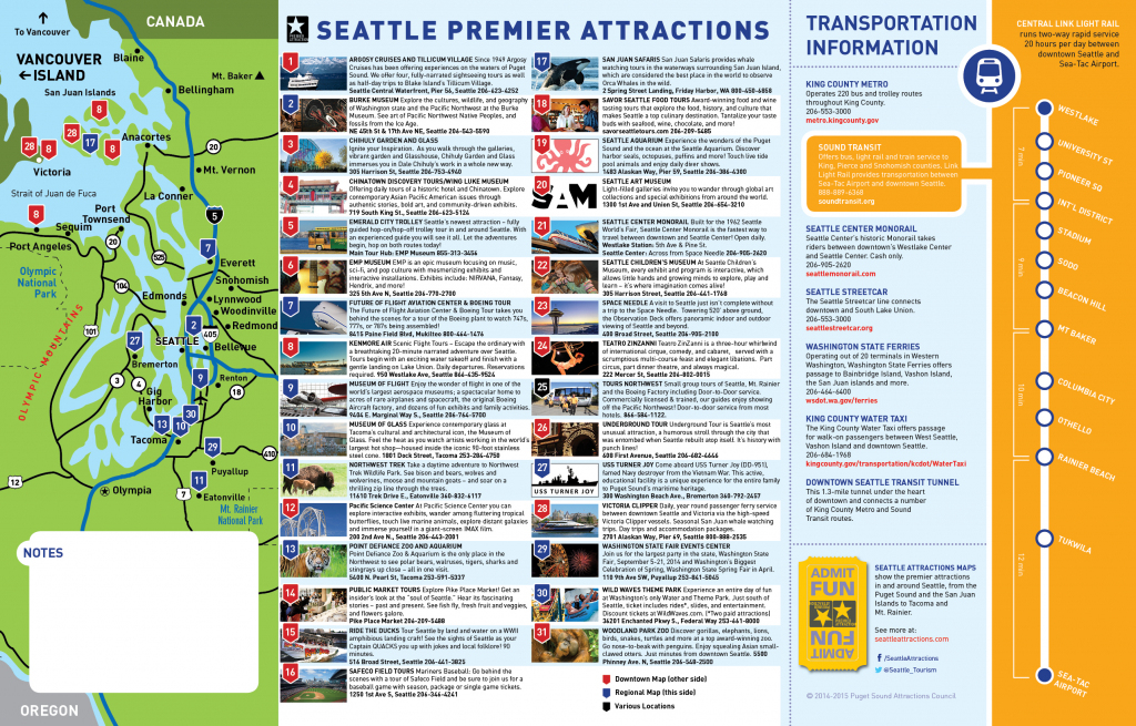 Seattle Tourist Map And Travel Information | Download Free Seattle for Seattle Tourist Map Printable