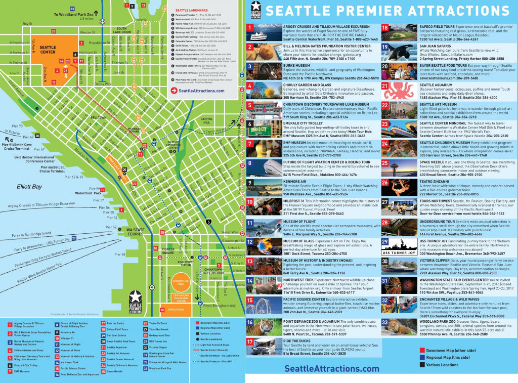 Seattle Tourist Map - Tourist Map Of Seattle (Washington - Usa) intended for Seattle Tourist Map Printable