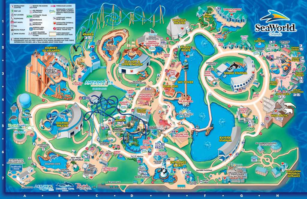 Seaworld Orlando Theme Park Map - Orlando Fl • Mappery | Aquariums inside Seaworld Orlando Map Printable