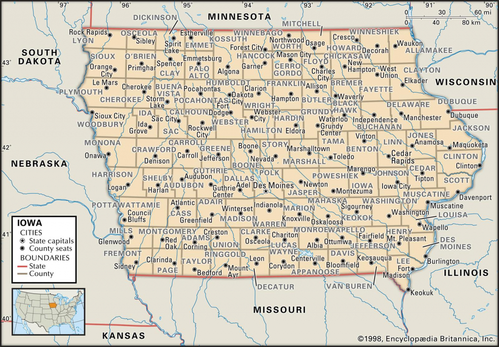 State And County Maps Of Iowa pertaining to Printable Map Of Iowa