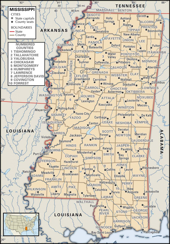 State And County Maps Of Mississippi with regard to Printable Map Of Ms