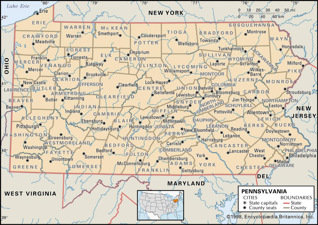 State And County Maps Of Pennsylvania with Printable Road Map Of Pennsylvania