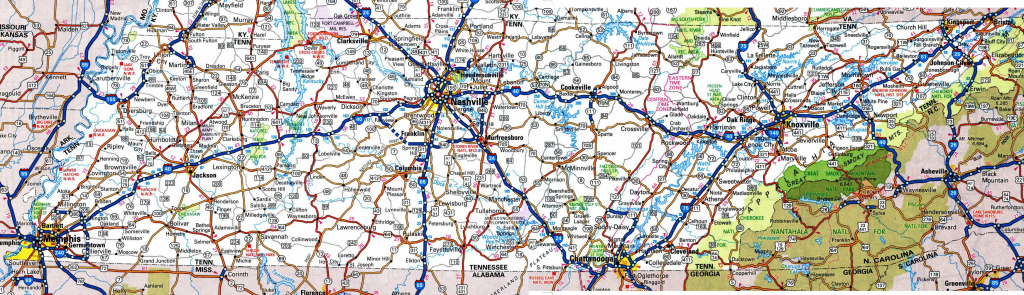 Tennessee Road Map with State Map Of Tennessee Printable