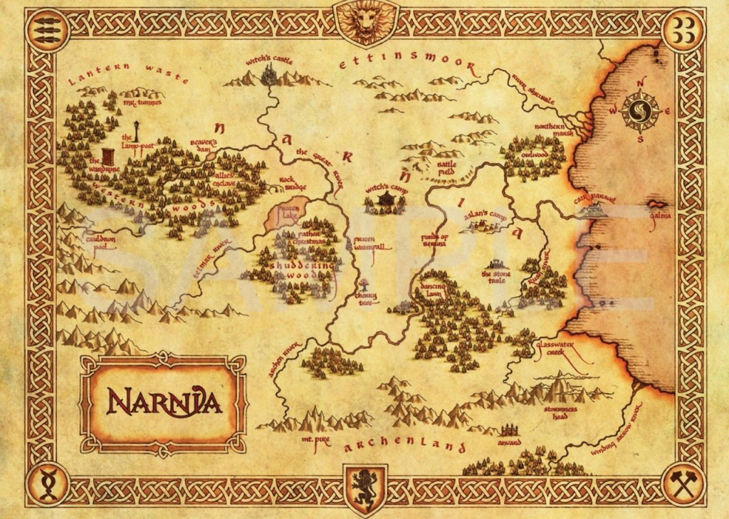 The Chronicles Of Narnia Map A3 Poster Art Print Hal584 | Harry for Printable Map Of Narnia