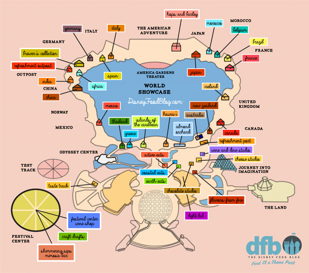 The Disney Food Blog 2018 Epcot Food And Wine Festival Map! | The pertaining to Printable Epcot Map