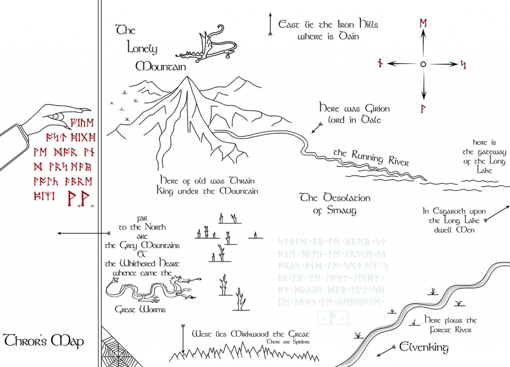 Thror's Map To Erebor | Etsy intended for Thror's Map Printable