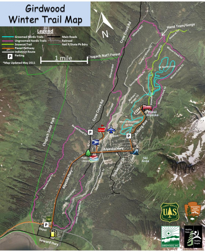 Todd Foisy`s Ramblings: New Girdwood Trail Map intended for Printable Iditarod Trail Map