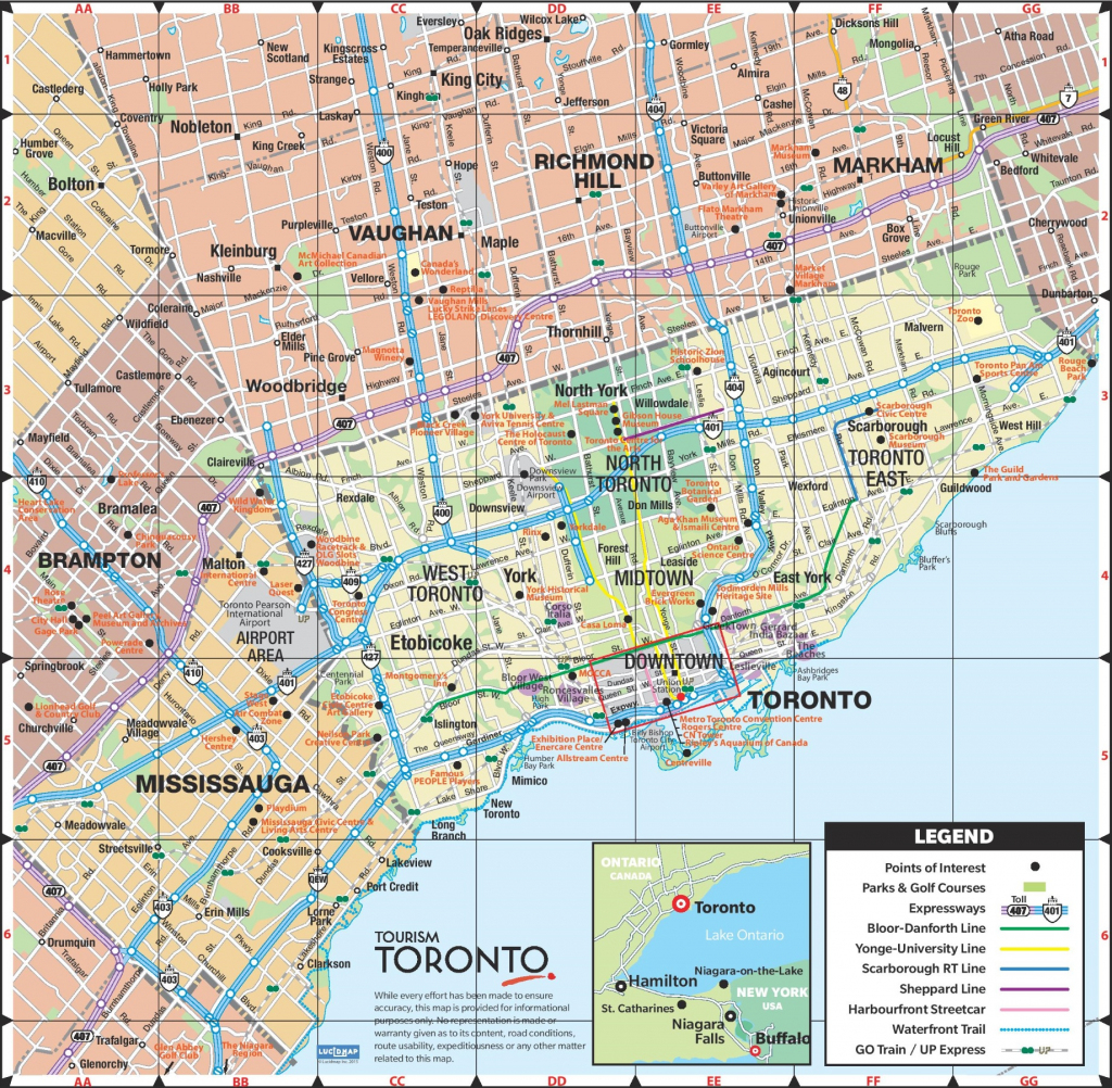 Toronto Road Map inside Printable Map Of Toronto