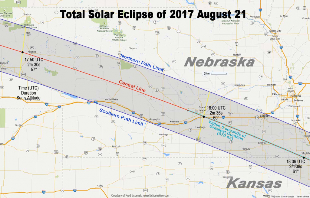 Total Eclipse Of The Sun: August 21, 2017 pertaining to Printable Eclipse Map