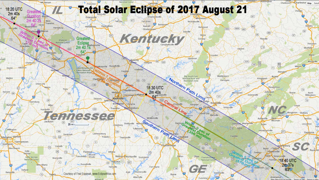 Total Eclipse Of The Sun: August 21, 2017 within Printable Eclipse Map