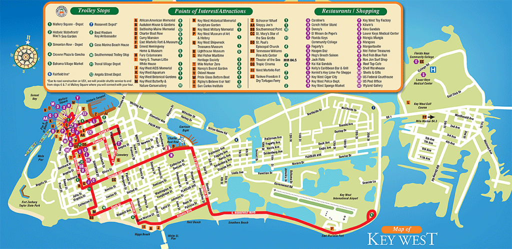 Tourist Attractions In Key West City Florida - Google Search with regard to Printable Street Map Of Key West Fl
