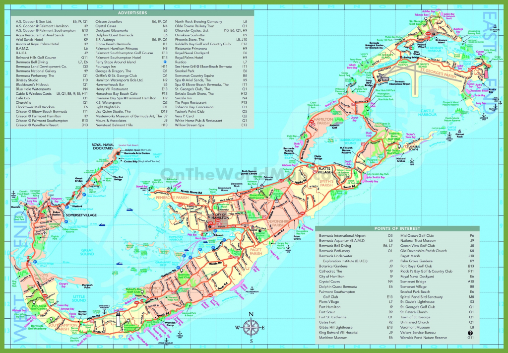 Travel Map Of Bermuda With Attractions inside Printable Map Of Bermuda