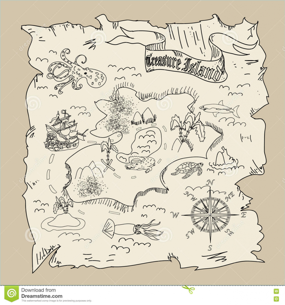 Treasure Island Map Kids Coloring Page Stock Illustration intended for Printable Treasure Map Coloring Page