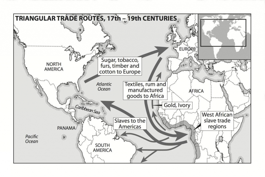 Triangle Slave Trade Map 14Th Century | Mapping The Middle Passage within Triangular Trade Map Printable