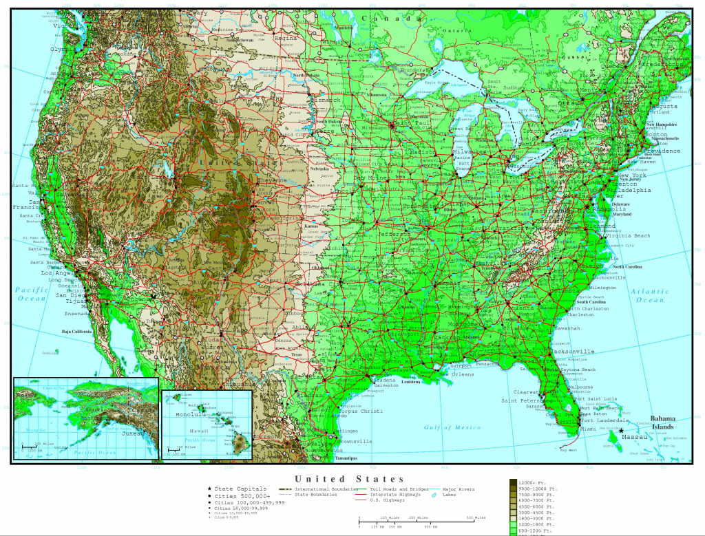 United States Elevation Map in Printable Topographic Map Of The United States