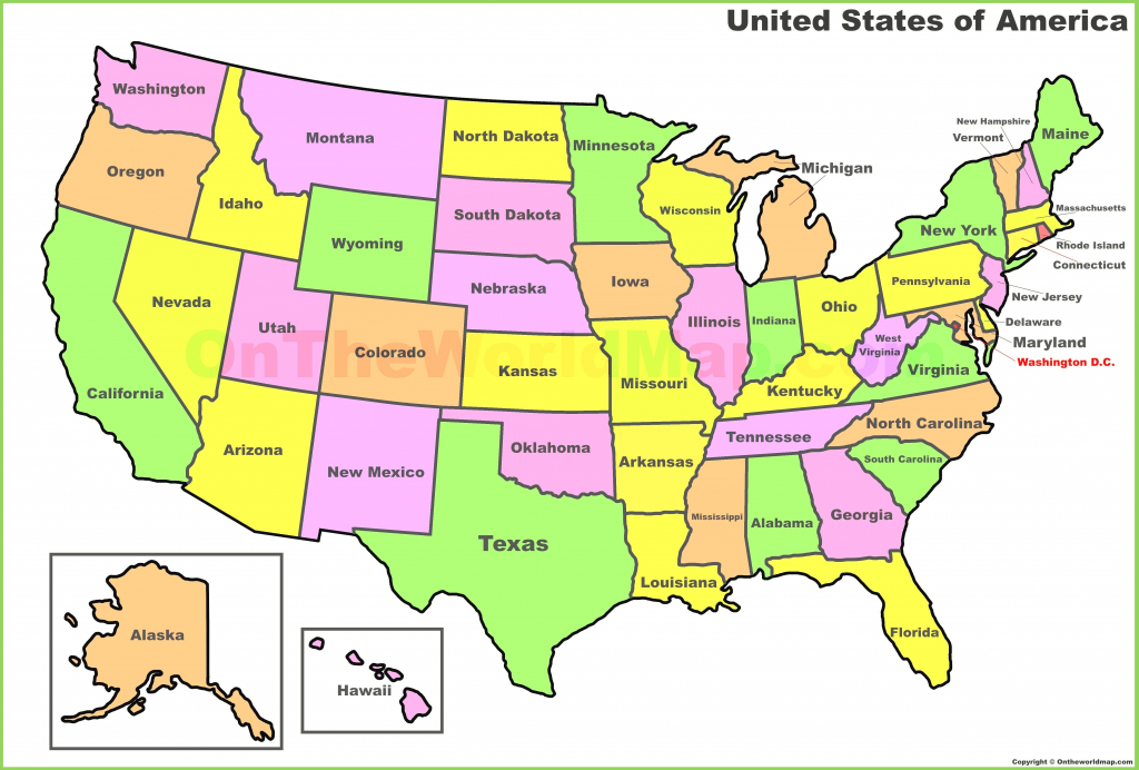United States Map With State Names Free Printable New Map The States throughout Free Printable United States Map With State Names