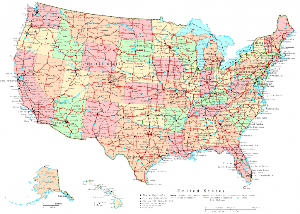 United States Printable Map intended for United States Color Map Printable