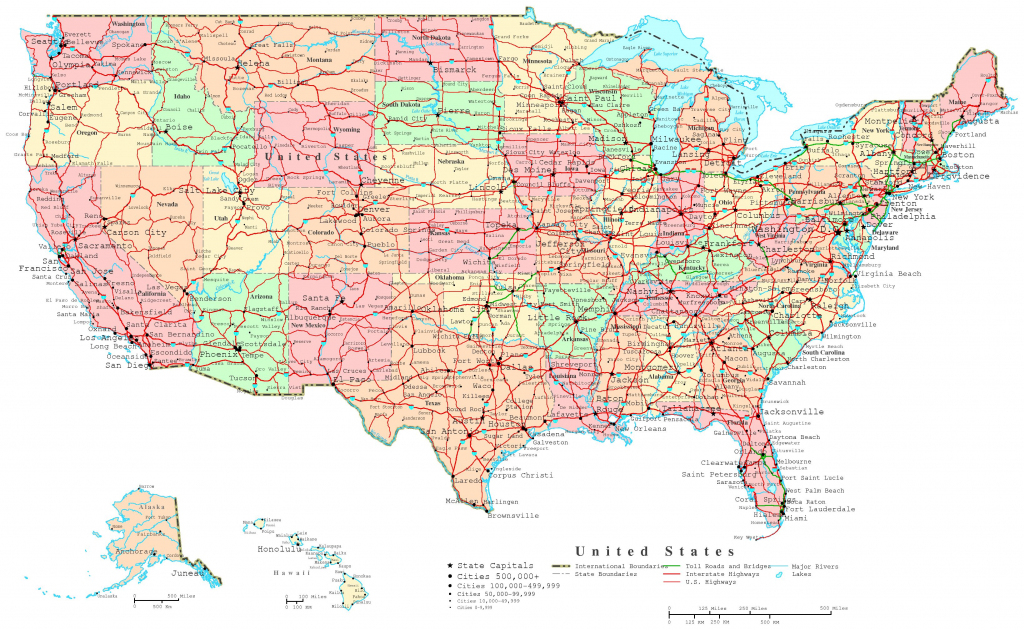 United States Printable Map with regard to Printable Map Of Usa With States And Cities