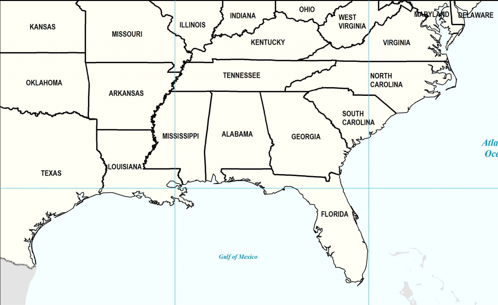 Us Map Southeast Printable East Coast Of The United States Free throughout Printable Map Of Southeast United States