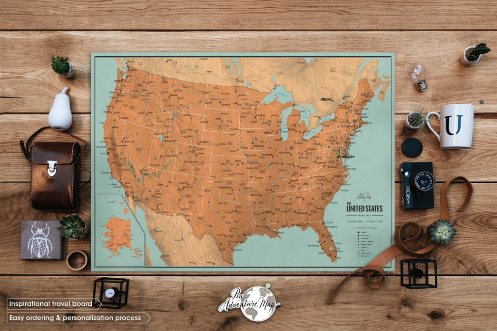 Us Map With Pins Poster Print United States Travel Map For | Etsy inside Printable Map With Pins