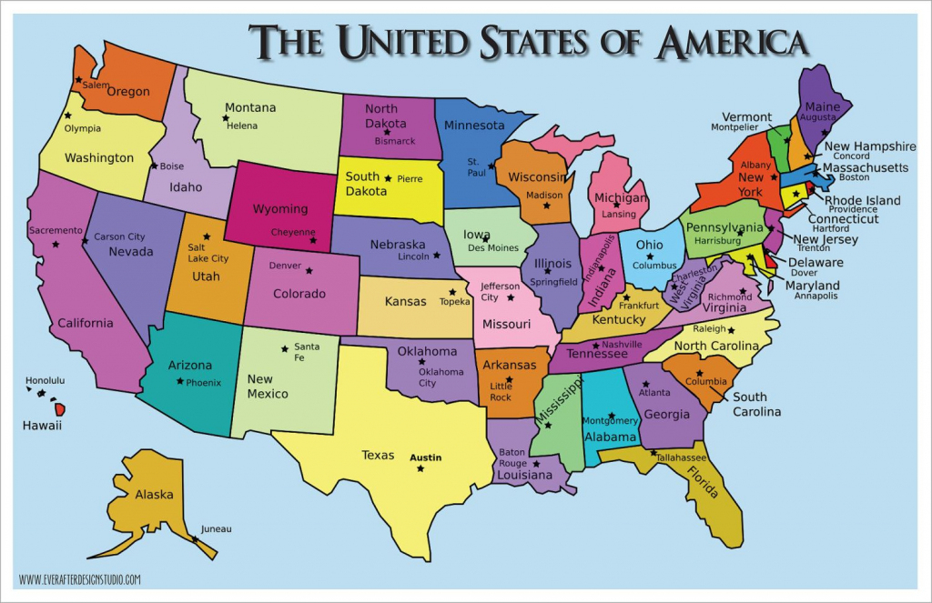 Usa Map - States And Capitals - Printable Us Map With States And pertaining to Printable Us Map With States And Capitals