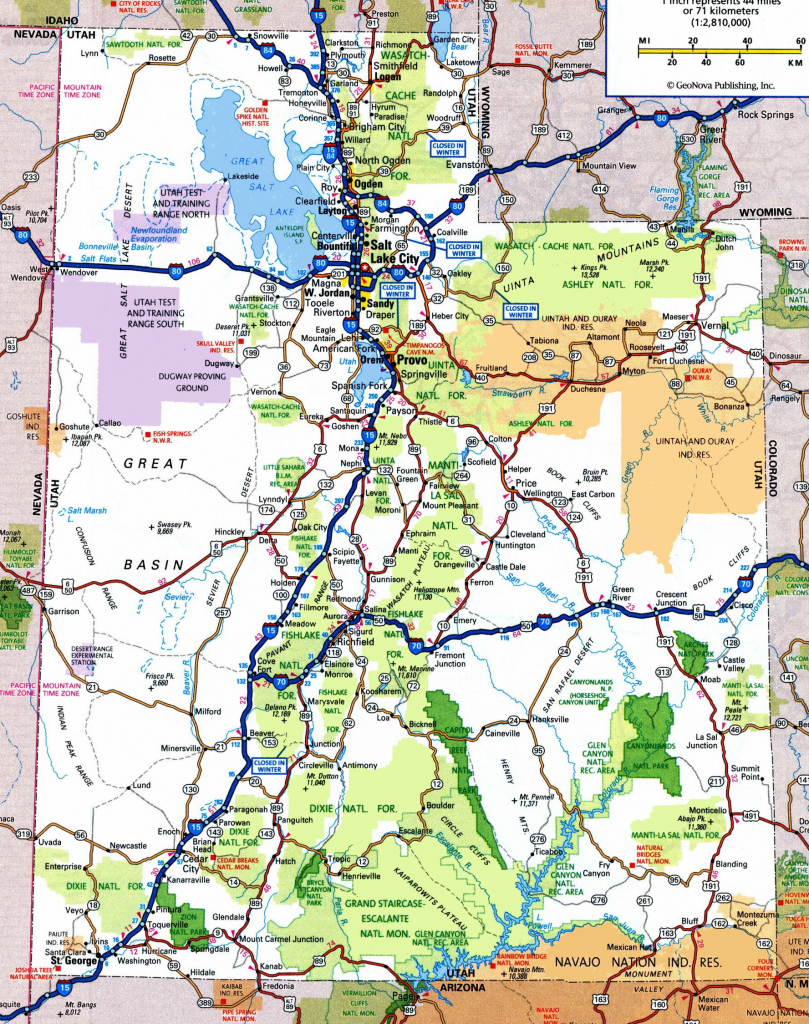 Utah Road Map throughout Utah State Map Printable