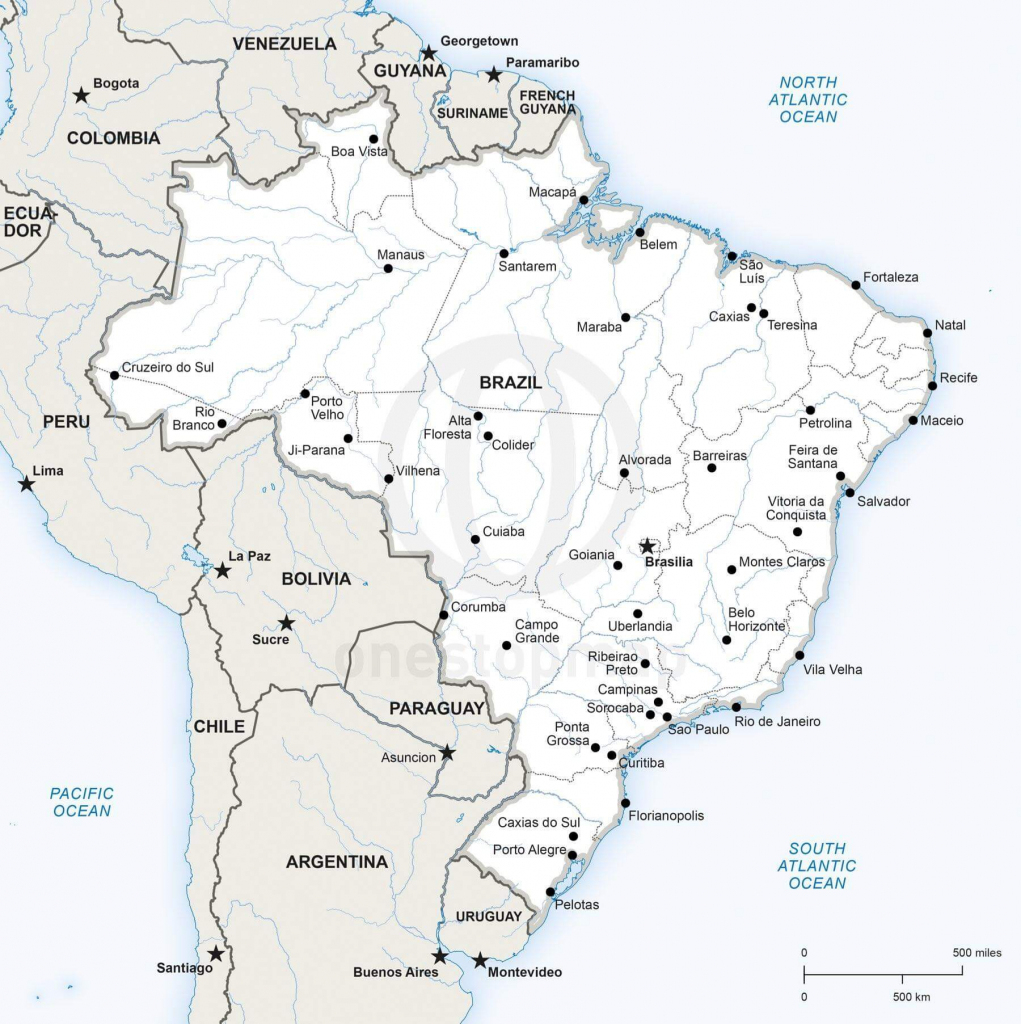 Vector Map Of Brazil Political | One Stop Map inside Printable Map Of Brazil