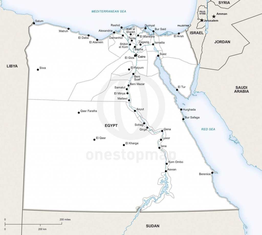 Vector Map Of Egypt Political   One Stop Map inside Printable Map Of Egypt