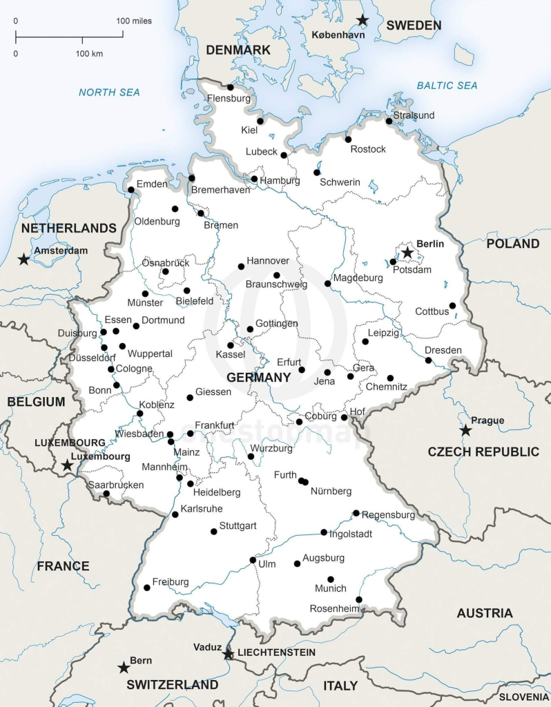 Vector Map Of Germany Political | One Stop Map inside Printable Map Of Germany
