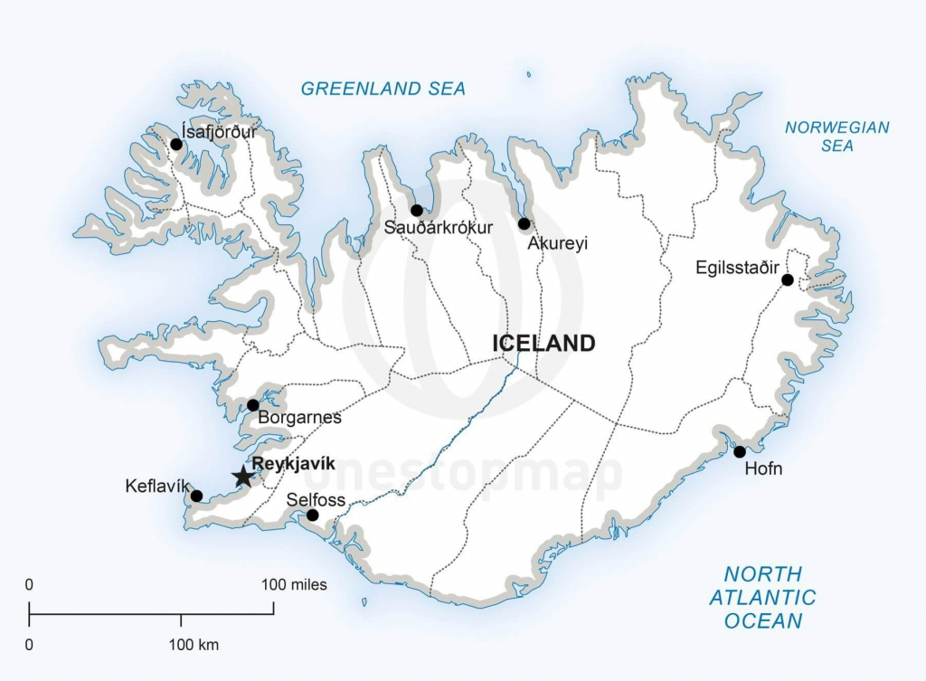 Vector Map Of Iceland Political | One Stop Map regarding Printable Map Of Iceland