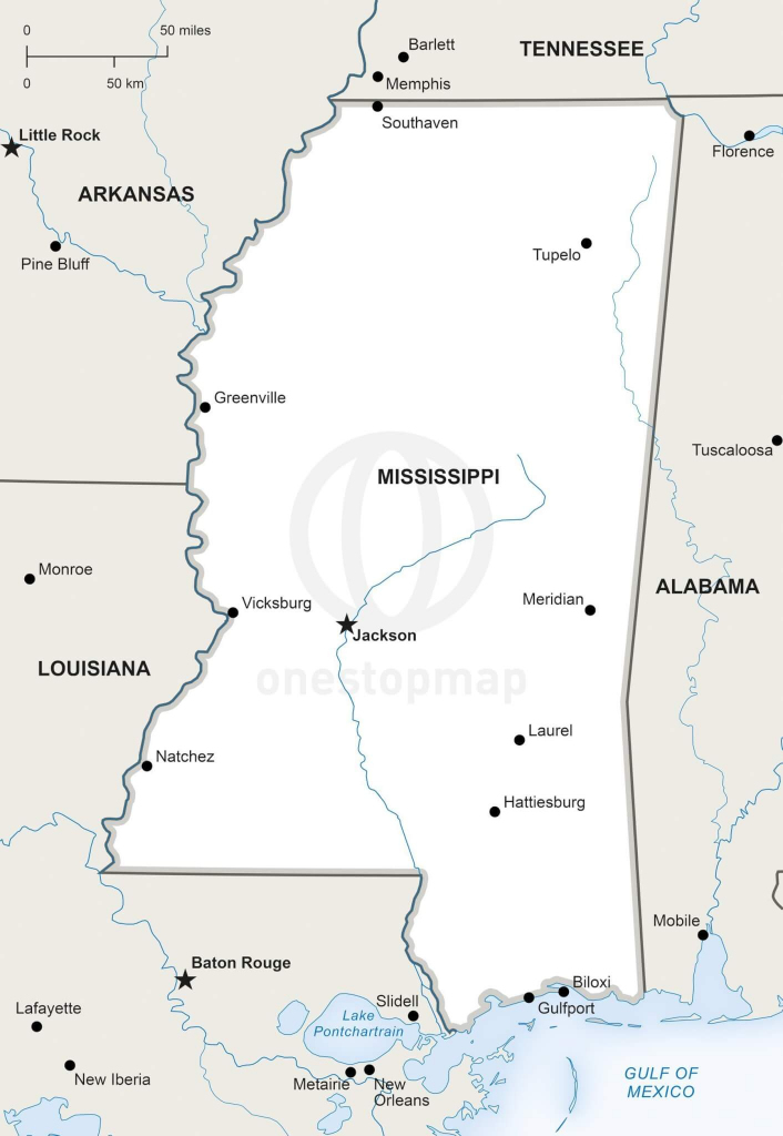 Vector Map Of Mississippi Political | One Stop Map with Printable Map Of Mississippi