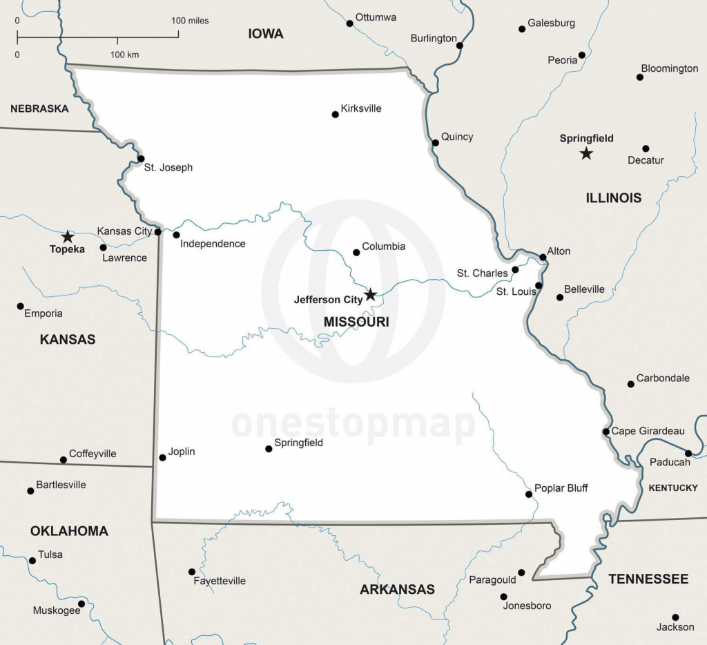 Vector Map Of Missouri Political | One Stop Map throughout Printable Blank Map Of Missouri