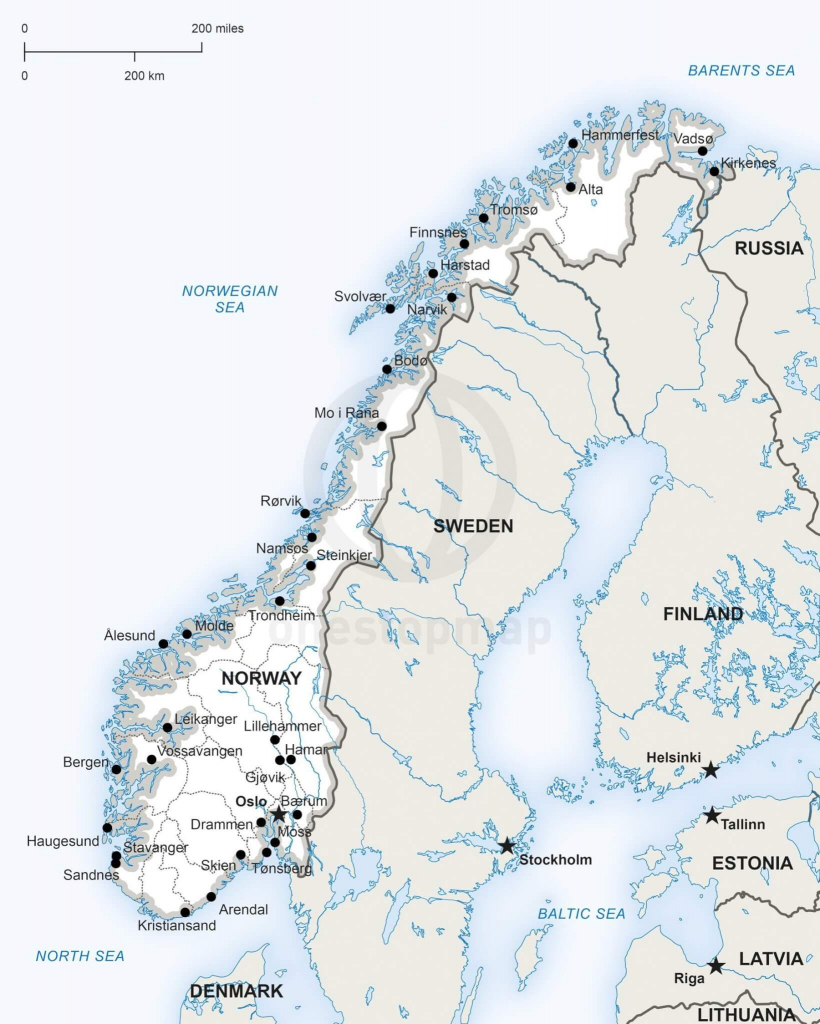 Vector Map Of Norway Political | One Stop Map throughout Printable Map Of Norway