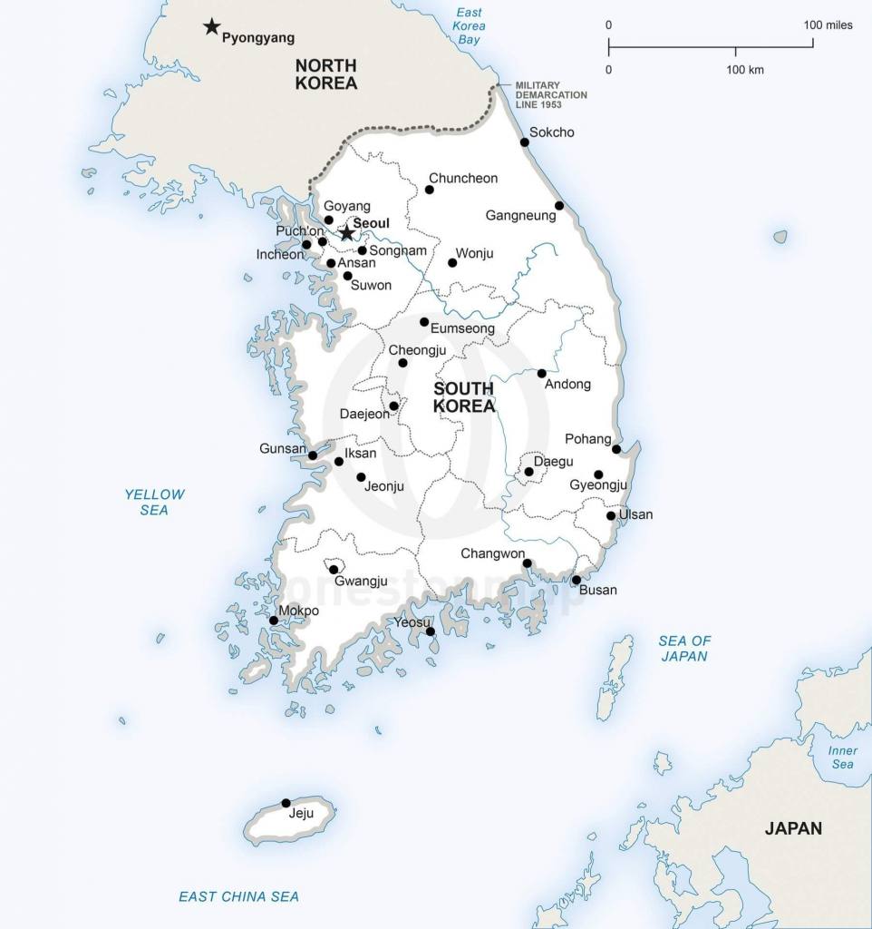 Vector Map Of South Korea Political | One Stop Map for Printable Map Of Korea