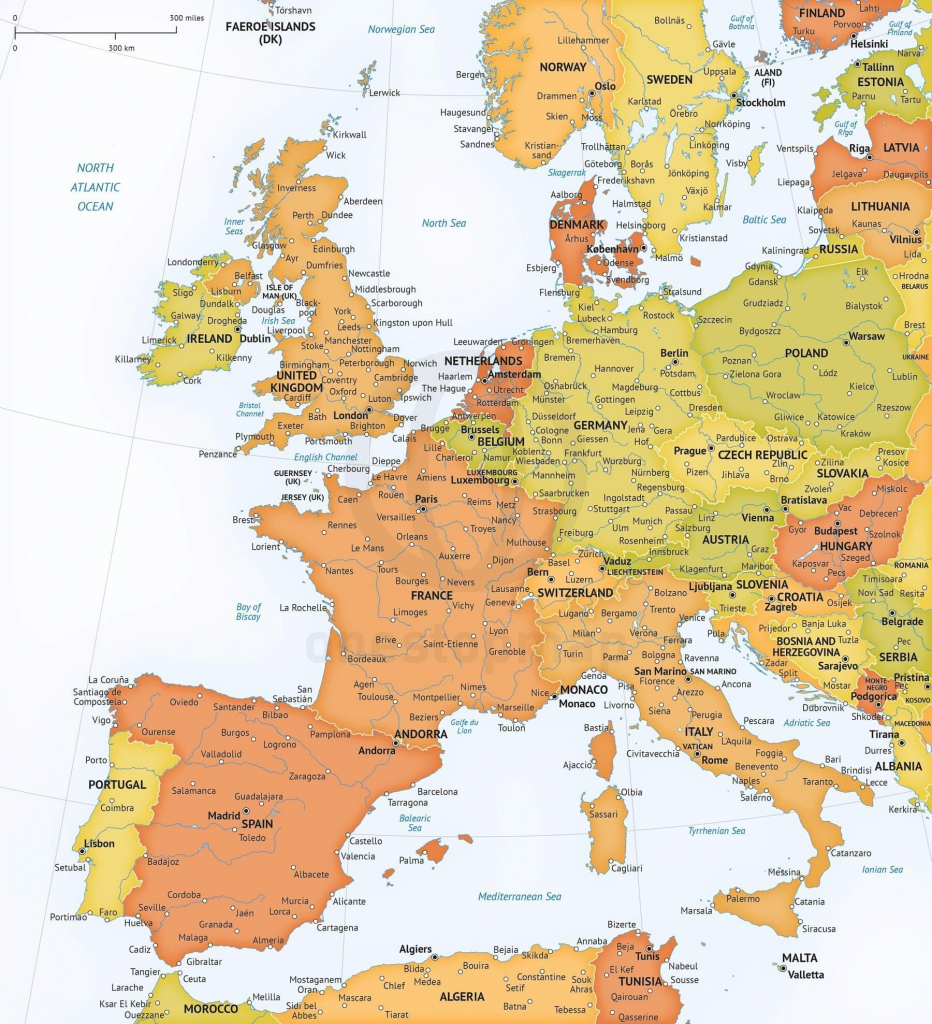 Vector Map Of Western Europe Political | One Stop Map throughout Printable Map Of Western Europe