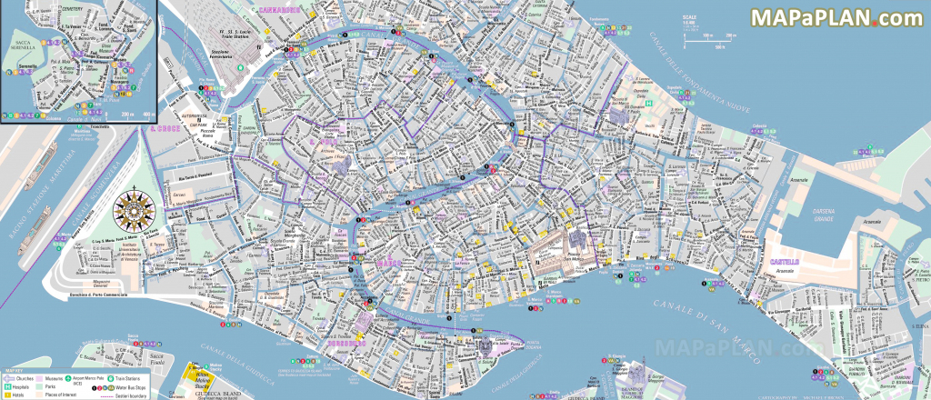 Venice Maps - Top Tourist Attractions - Free, Printable City Street Map with regard to Street Map Of Venice Italy Printable