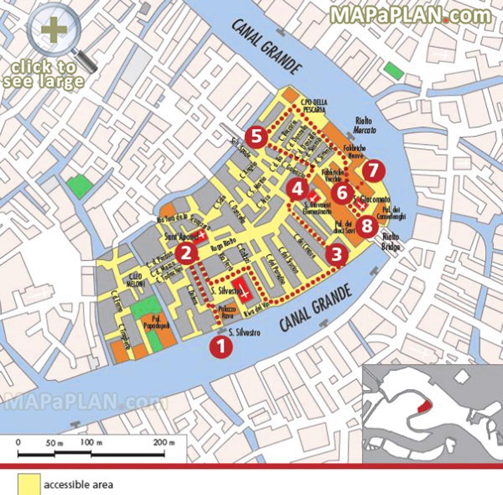 Venice Maps - Top Tourist Attractions - Free, Printable City Street Map with Tourist Map Of Venice Printable